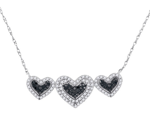 3/8 Carat (ctw Clarity I2-I3) Black and White Diamond Triple Heart Necklace in 10K White Gold