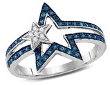 1/8 Carat (ctw) Blue and White Diamond Double Star Ring in Sterling Silver