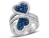 1.10 Carat (ctw) Blue and White Diamond Heart Promise Ring in 10K White Gold