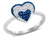 1/10 Carat (ctw) Blue and White Diamond Heart Promise Ring in 10K White Gold