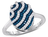 1/3 Carat (ctw I-J, I2-I3) Blue and White Diamond Stripe Cluster Ring in 10K White Gold