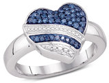 1/3 Carat (ctw I2-I3) Blue and White Diamond Heart Promise Ring in 10K White Gold