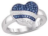 1/3 Carat (ctw I2-I3) Blue and White Diamond Heart Promise Ring in 10K White Gold