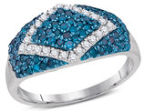 7/10 Carat (ctw G-H, I2) Blue and White Diamond Cocktail band Ring in 10K White Gold
