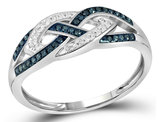 1/6 Carat (ctw I2-I3) Blue Diamond Crossover Ring in 10K White Gold