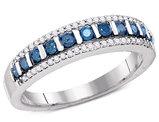 1/3 Carat (ctw I2-I3) Blue and White Diamond Wedding Band Ring in 10K White Gold