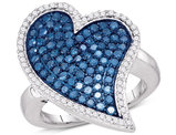 1 3/8 Carat (ctw I2-I3) Enhanced Blue & White Diamond Heart Cluster Promise Ring in 10K White Gold