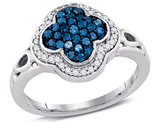 2/5 Carat (ctw I-J, I2-I3) Blue and White Diamond Cluster Ring in 10K White Gold