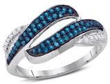 1/3 Carat (ctw I2-I3) Blue Diamond Bypass Ring in 10K White Gold