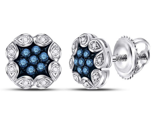 1/5 Carat (ctw) Enhanced Blue Diamond Cluster Earrings in 10K White Gold