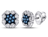 1/5 Carat (ctw) Enhanced Blue Diamond Cluster Earrings in 10K White Gold