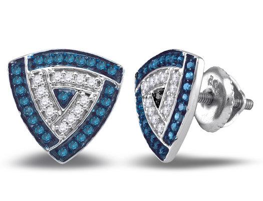 1/3 Carat (ctw I2-I3) Blue Diamond Post Cluster Earrings in 10K White Gold