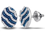 White and Blue Diamond Stud Earrings 3/8 Carat (ctw) in 10K White Gold