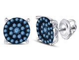 1/2 Carat (ctw) Enhanced Blue Diamond Cluster Earrings in 10K White Gold