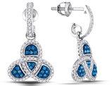 2/5 Carat (ctw) Enhanced Blue and White Diamond Dangle Earrings in 10K White Gold