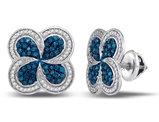 1/2 Carat (ctw) Enhanced Blue and White Diamond PinWheel Cluster Earrings in 10K White Gold
