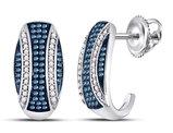 3/8 Carat (ctw I2-I3) White and Blue Diamond Stripe Earrings in 10K White Gold