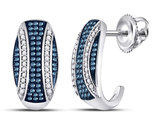 3/8 Carat (ctw I2-I3) White and Blue Diamond Stripe Earrings in 10K White Gold