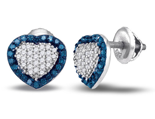 1 2 Carat Ctw Enhanced Blue And White Diamond Heart Earrings In 10k