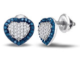 1/2 Carat (ctw) Enhanced Blue and White Diamond Heart Earrings in 10K White Gold