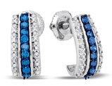 1/3 Carat (ctw I2-I3) White and Blue Diamond Earrings in 10K White Gold