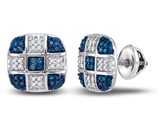 1/4 Carat (ctw I2-I3) Blue and White Diamond Post Earrings in 10K White Gold