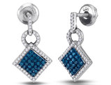 1/2 Carat (ctw I2-I3) Blue and White Square Diamond Dangle Earrings in 10K White Gold
