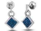 1/2 Carat (ctw I2-I3) Blue and White Square Diamond Dangle Earrings in 10K White Gold
