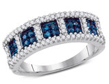 2/5 Carat (ctw I2-I3) Blue and White Diamond Anniversary Cocktail Band Ring in 10K White Gold