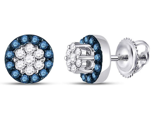 1/2 Carat (ctw I2-I3) Blue and White Diamond Cluster Halo Post Earrings in 10K White Gold