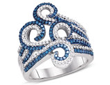 3/4 Carat (ctw I2-I3) Blue Diamond Swirl Curl Ring in 10K White Gold