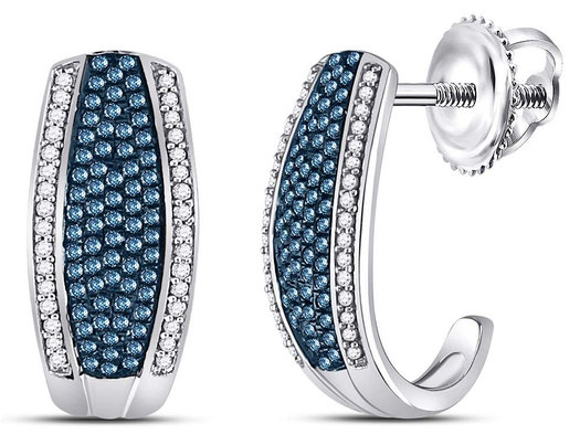 1/2 Carat (ctw I2-I3) White and Blue Diamond J-Hoop Earrings in 10K White Gold