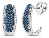 1/2 Carat (ctw I2-I3) White and Blue Diamond J-Hoop Earrings in 10K White Gold
