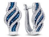 1/3 Carat (ctw I2-I3) White and Blue Diamond Spiral Stripe Earrings in 10K White Gold