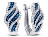 1/3 Carat (ctw I2-I3) White and Blue Diamond Spiral Stripe Earrings in 10K White Gold