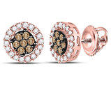 1/4 Carat (ctw I2-I3) Champagne and White Cluster Diamond Post Earrings in 10K Rose Pink Gold