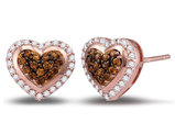 2/5 Carat (ctw I2-I3) Cognac Champagne and White Heart Cluster Diamond Post Earrings in 10K Rose Pink Gold