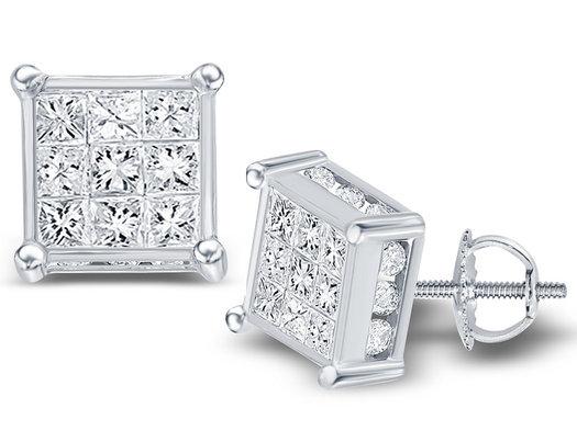 1.50 Carat (ctw I1-I2 , H-I) Princess Cut Diamond Post Earrings in 14K White Gold