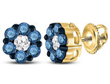 1.00 Carat (ctw I2-I3) Blue and White Diamond Cluster Post Earrings in 10K Yellow Gold