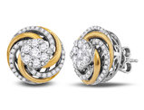 1.00 Carat (ctw H-I, I1-I2) Diamond Flower Cluster Post Earrings in 10K Yellow and White Gold