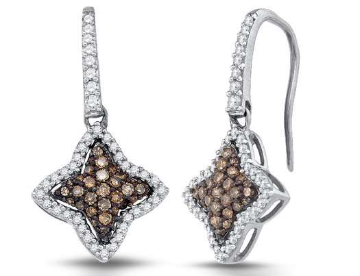 1/2 Carat (ctw I2-I3) Champagne and White Star Diamond Dangle Earrings in 10K White Gold