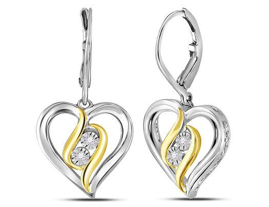 1/20 Carat (ctw J-K, I2-I3) Leverback Diamond Heart Earrings in Sterling Silver with