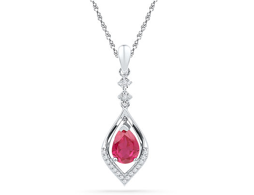 1.00 Carat (ctw) Lab Created Ruby Drop Pendant Necklace in 10K White Gold with Diamonds 1/12 Carat (ctw)