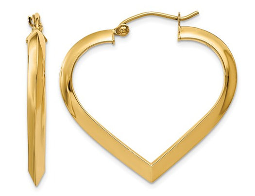14K Yellow Gold Polished Heart Hoop Earrings (1.10 Inches)