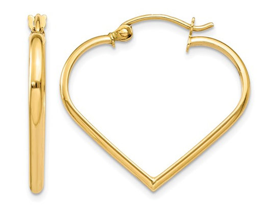 14K Yellow Gold Polished Heart Hoop Earrings