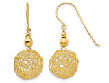 14K Yellow Gold MIrror Bead and Wire Dangle Earrings