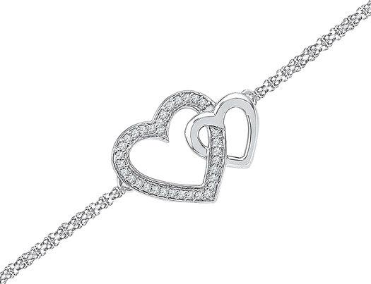 1/10 Carat  (ctw J-K, I2-I3) Diamond Heart Chain Bracelet in Sterling Silver