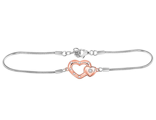 1/20 Carat  ctw J-K, I2-I3) Accent Diamond Heart Bracelet in Sterling Silver