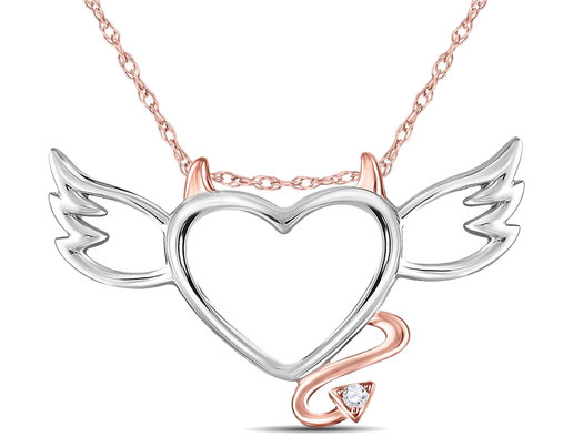 Naughty Devil Heart Pendant Necklace in 10K White and Rose Pink Gold with Chain