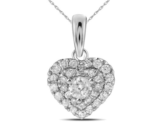 1/3 Carat (ctw I-J, I2-I3) Diamond Heart Pendant Necklace in 14K White Gold with Chain